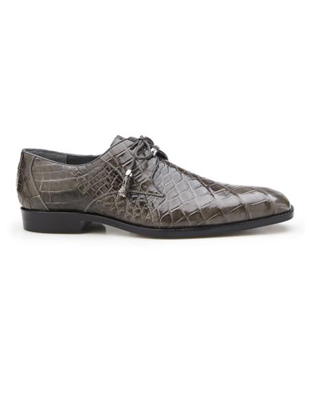 Authentic Mens Mezlan Dress Shoe Lago, in Gray Plain-toed Derby Dress Shoes, Alligator Style: 14010