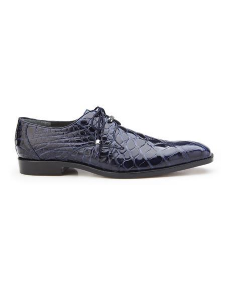 Authentic Mens Mezlan Dress Shoe Lago, in Navy Plain-toed Derby Dress Shoes, Alligator Style: 14010