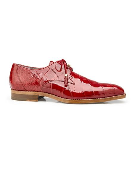 Authentic Mens Mezlan Dress Shoe Lago, in Red Plain-toed Derby Dress Shoes, Alligator Style: 14010