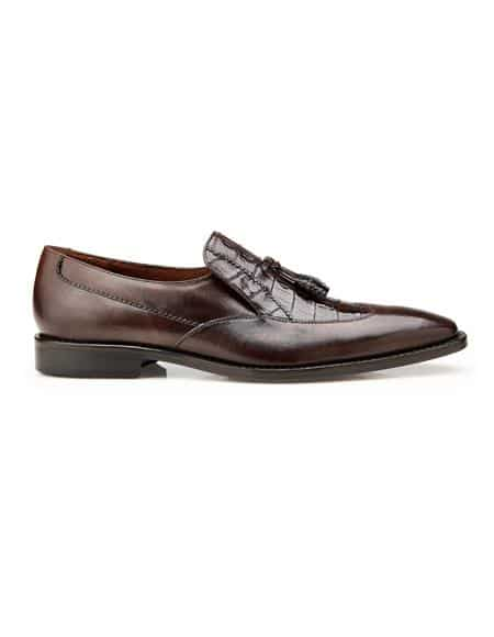 Authentic Men's Dress Shoe Bosco, In Tobacco Alligator And Italian Calf Wing Tip Style: 4B2