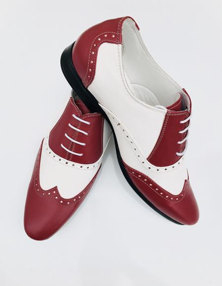 Men's Leather Two Toned Wing Tip Oxford Lace Up Shoe Burgundy