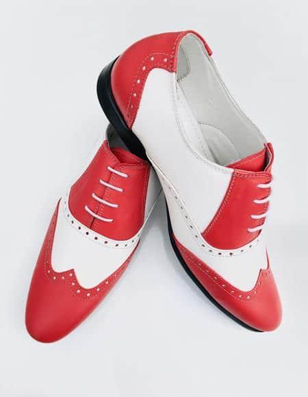 Men's Red Shoe Alberto Nardoni Leather Wing Tip - Red Men's Prom Shoe