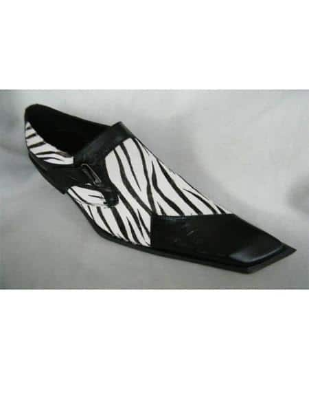 Mens Black/White Zebra Skin Design Two Toned Dress Shoe