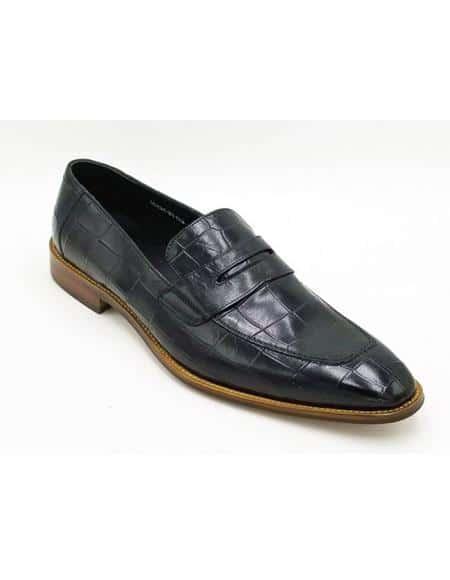 ZOTA Men's Premium Soft Genuine Leather Crocodile Print Dress Shoe In Brown
