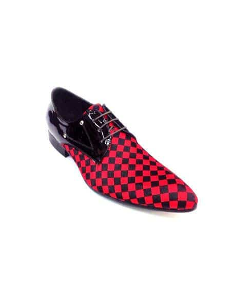 Men Fashion Two Toned Dress Shoe Zota Lace Up Pony Hair Leather Checker Pointe Toe HX750 Red - Red Mens Prom Shoe