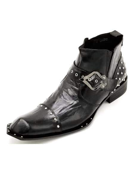 Mens Black Crinkle Leather Harness Strap Studded Zota Unique Ankle Cheap Priced Mens Dress Boot With Jeans Or Suit Best Fashion Dressy Leather Boot!