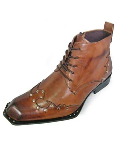 Mens Brown Leather Lace Up Zota Unique Ankle Cheap Priced Tan Color Shoe Mens Dress Boot With Jeans Or Suit Best Fashion Dressy Leather Boot!