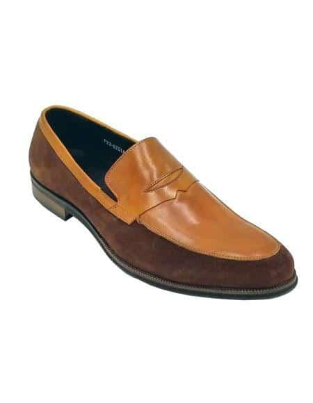Mens Tan Color Shoe Brown Unique Zota Two Toned Dress Shoe