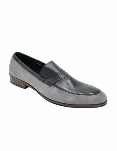 Mens Dress Shoe Grey ~ Black Unique Zota Shoe