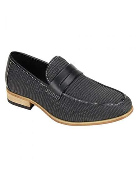 Antonio Cerrelli Men's Snake Skin Print Stylish Dress Loafer Fashion Dress Shoe In Black