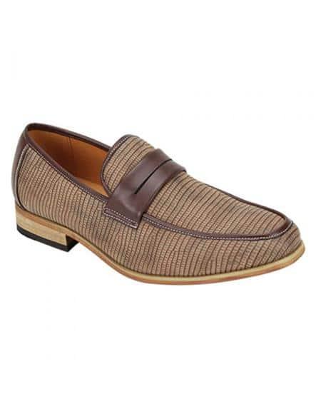 Antonio Cerrelli Men's Tan Color Shoe Snake Skin Print Stylish Dress Loafer Fashion Dress Shoe In Brown