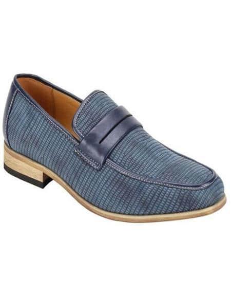 Antonio Cerrelli Men's Snake Skin Print Stylish Dress Loafer Fashion Dress Shoe In Blue