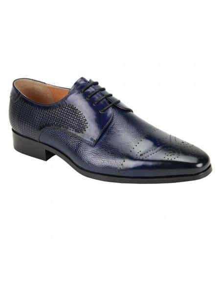Giorgio Venturi Men's Soft Genuine Leather Mutli-Textured Dress Shoe In Navy