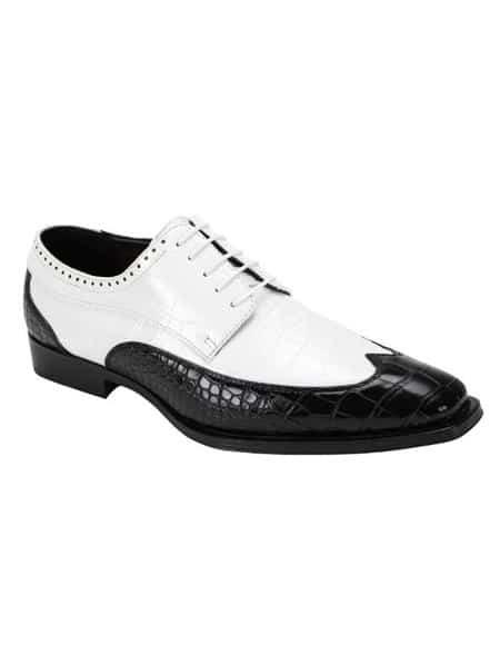 Black ~ White Two Toned 5 Eyelet Lacing Lace Up Dress Shoe