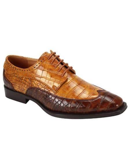 Cognac ~ Scotch Two Toned Lace Up Dress Shoe