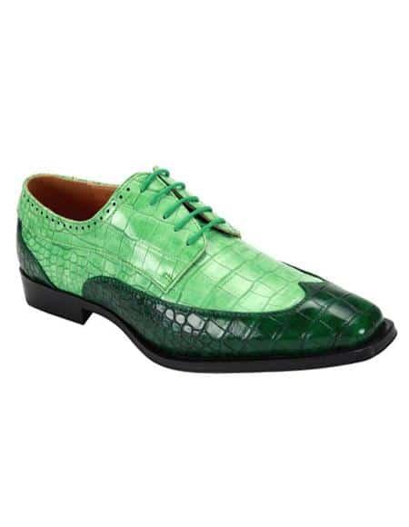 Green ~ Jade Two Toned 5 Eyelet Lacing Dress Shoe