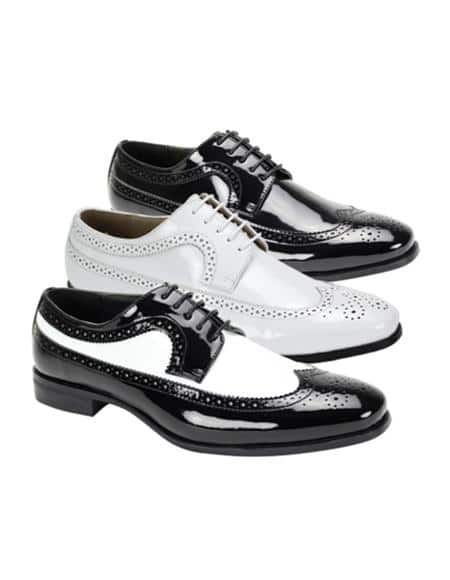 Patent Leather Shoe Wingtip Lace UP Oxford Shoe 3 Colors White Shoes Black Shoes Black - White Shoes
