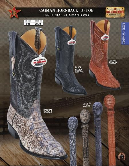 JToe Caiman Hornback Mens Western Cowboy Boots Diff. Colors/Sizes