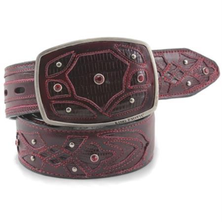 King exotic burgundy belt genuine teju lizard
