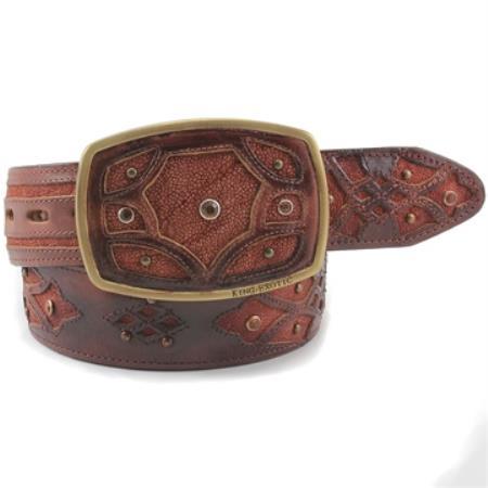 King exotic cognac belt genuine sharkskin