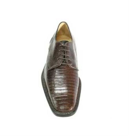 Lizard Dress Shoes with Lambskin Lining and Cushioned Insoles in Brown
