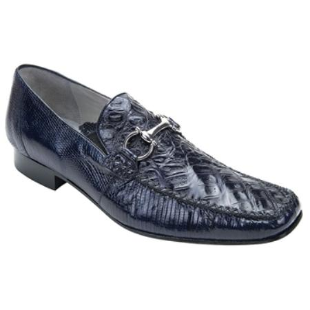 Lizard / Mens Crocodile Shoes with Silver Buckle in Navy