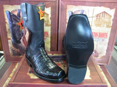 Los Altos Black Caiman Belly Western Cowboy Biker Motorcycle Boot (EE)
