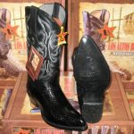 Los Altos Black Genuine Cobra Snake Skin Belly Western Cowboy Boot (EE)