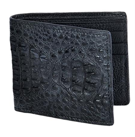 Los Altos Black Genuine Crocodile Card Holder Wallet