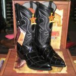 Los Altos Black Genuine Eel Western Cowboy Boot (D)