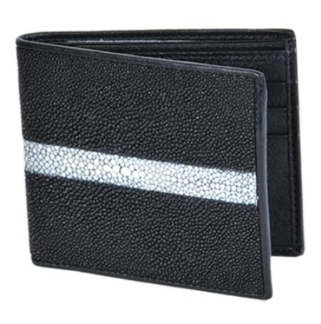 Los Altos Black Genuine Stingray Rowstone Finish Card Holder Wallet