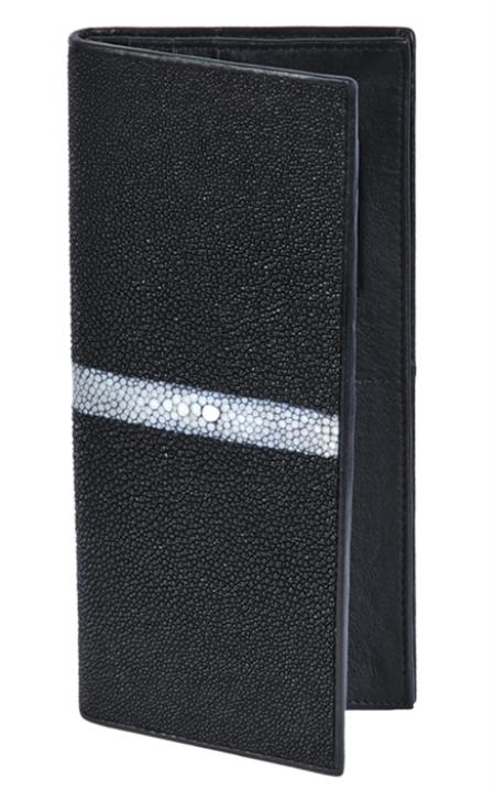 Los Altos Black Genuine Stingray Single Stone Check Book Holder Wallet