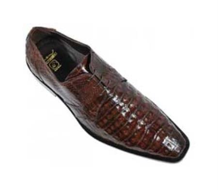 Los Altos Brown Genuine AllOver Crocodile Belly Shoes