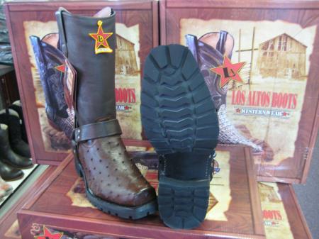 Los Altos Brown Genuine Ostrich Motorcycle Biker Western Cowboy Boot (EE)