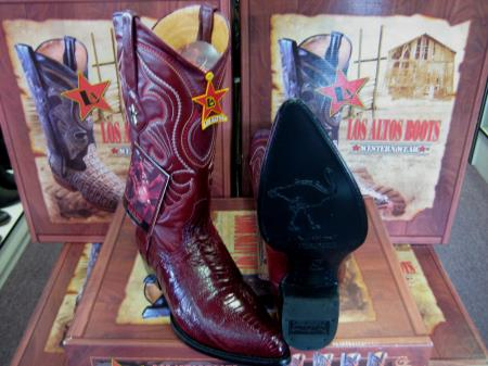 Los Altos Burgundy Genuine Ostrich Leg Western Cowboy Boot (EE)