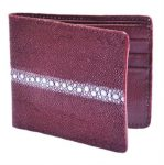 Los Altos Burgundy Genuine Stingray Rowstone Card Holder Wallet