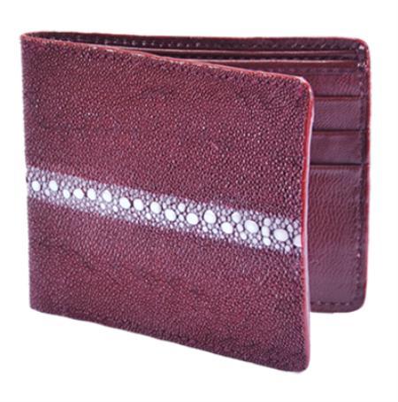 Los Altos Burgundy Genuine Stingray Rowstone Card Holder Wallet