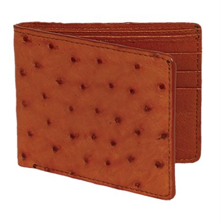 Los Altos Cognac Genuine Ostrich Card Holder Wallet