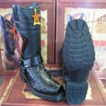 Los Altos Genuine Ostrich Leg Black Motorcycle Biker Western Cowboy Work Boot
