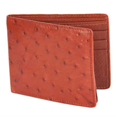 Los Altos Honey Genuine Ostrich Card Holder Wallet