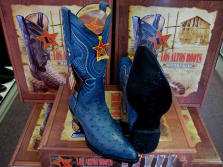Los Altos Jean Blue Genuine Full Quill Ostrich Western Cowboy Boot (EE)