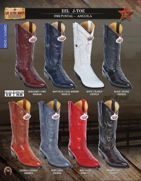 Los Altos JToe Genuine Eel Mens Western Cowboy Boots Diff.Colors/Sizes