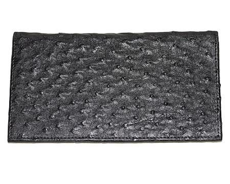Los Altos Large Ostrich Wallet Black