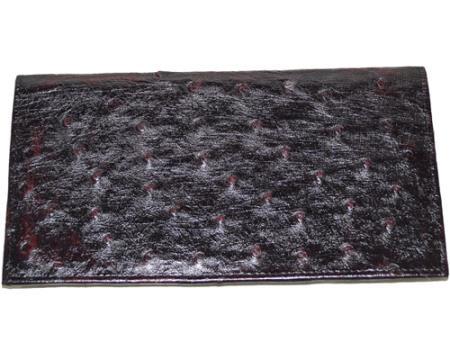 Los Altos Large Ostrich Wallet Black Cherry