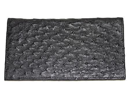 Los Altos Large Ostrich Wallet Black