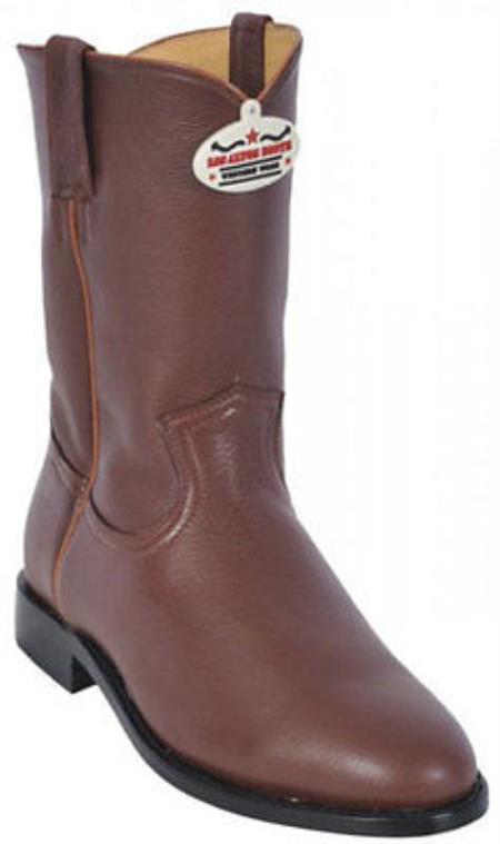 Los Altos Men Genuine Cognac Elk Roper Leather Western Cowboy Riding Boot210