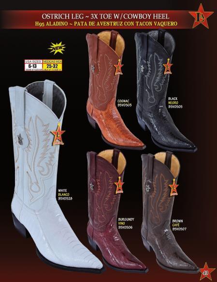 Los Altos Mens 3X Toe Genuine Ostrich Leg w/ Cowboy Heel Western Boots