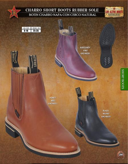 Los Altos Mens Charro Short Boots Rubber Sole Diff. Colors/Sizes