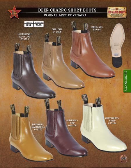 Los Altos Mens Deer Charro Short Boots Diff. Colors/Sizes