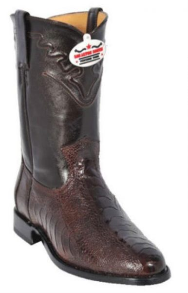 Los Altos Mens Genuine Brown Ostrich Leg Western Cowboy Riding Style Boot